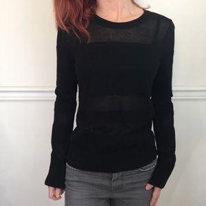 Rag & Bone Jean Black Mesh Panel Long Sleeve Shirt